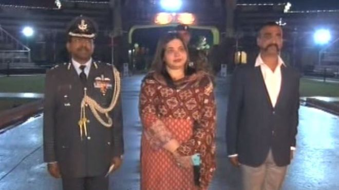 Wing Commander Abhinandan Varthaman walks towards the Attari border from the Pakistani side